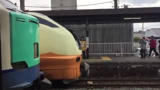 2017.3/18 ありがとう485系羽越 鶴岡駅で653いなほとの並び