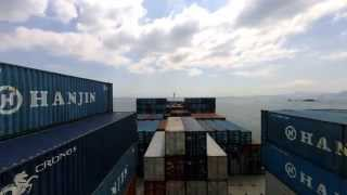 Cargo ship timelapse: Busan, South Korea to sea