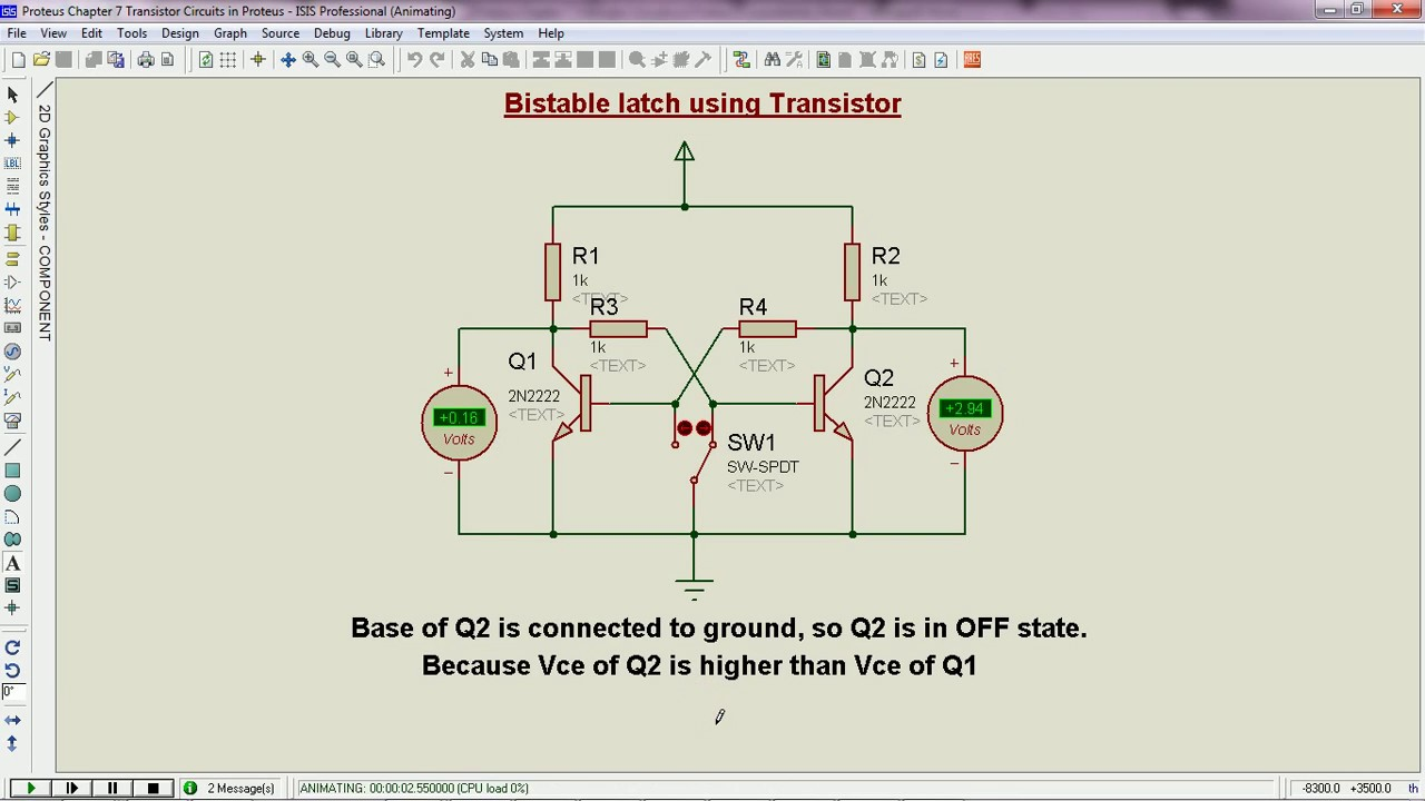 Bistable latch circuit operation - Proteus - YouTube