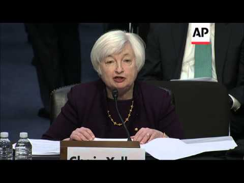 Federal Reserve Chair Janet Yellen says the U.S. economy is improving but notes that the job market