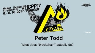 "Peter Todd - WHAT DOES ""BLOCKCHAIN"" ACTUALLY DO? 