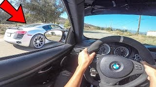 BMW M3 VS AUDI R8!! - POV DRIVE!! (Loud Exhausts!) V8 Battle