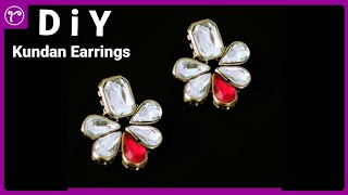 Beautiful Unique Kundan Earrings Making | Easy Designer Jewellery Making Tutorial | DIY Jewellery