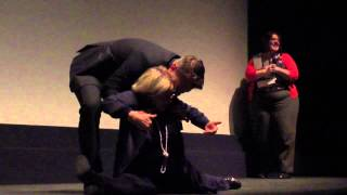 Director's mom does the splits - clip from The Station (aka Blood Glacier) Q&A - Toronto film fest
