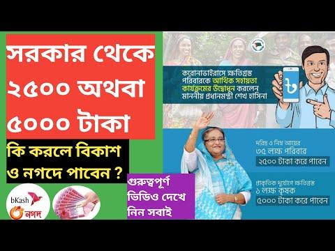 প্রধানমন্ত্রী শেখ হাসিনা সরকার থেকে ২৫০০ অথবা ৫০০০ টাকা | ঈদ বোনাস |  Payment bkash Nagad