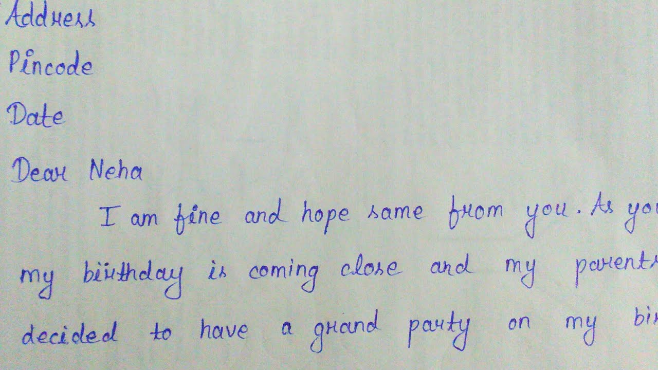 Letter For Inviting Friend On Birthday Party Write A Letter To Your Friend For Birthday Invitation Youtube