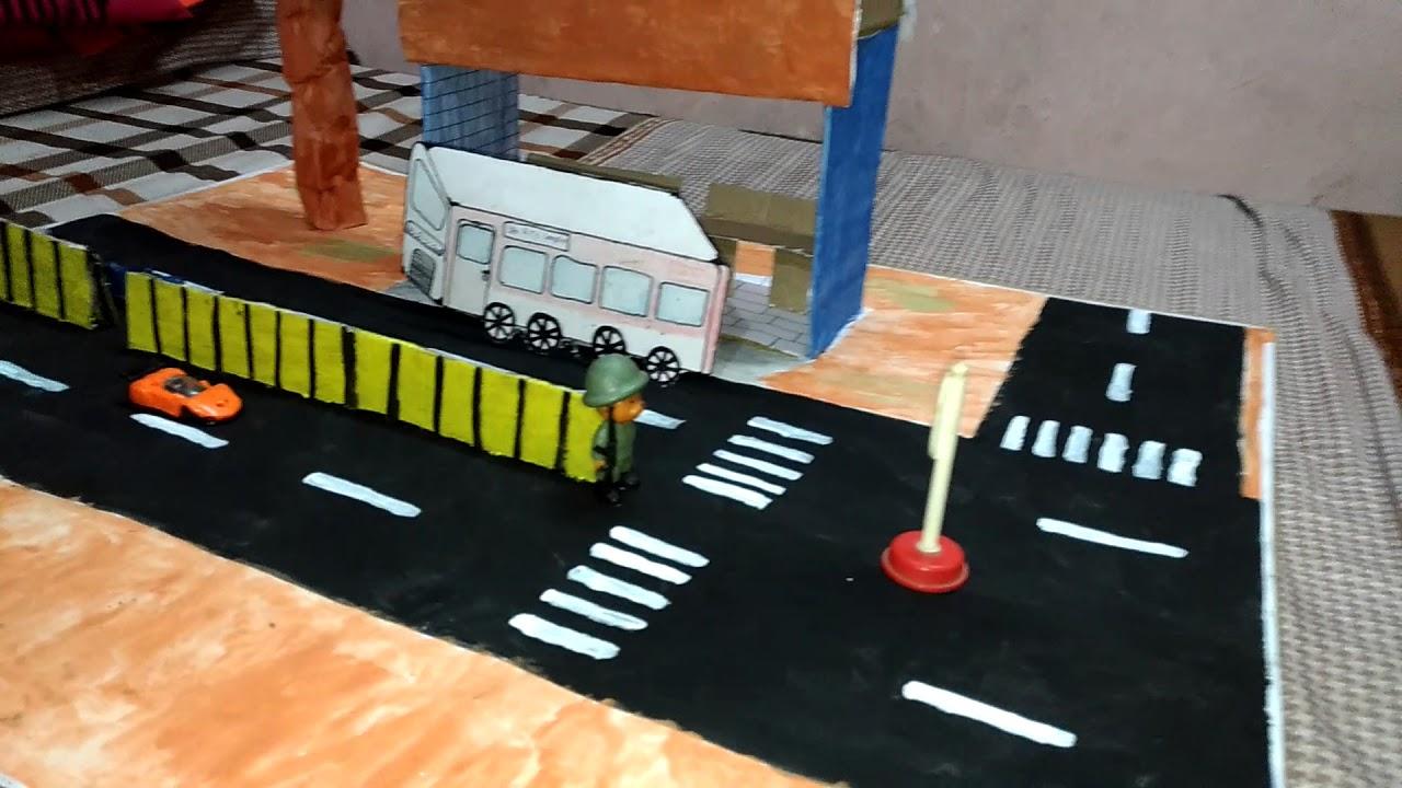 Simple 'BUS STOP' model for School kids on 'cardboard'|