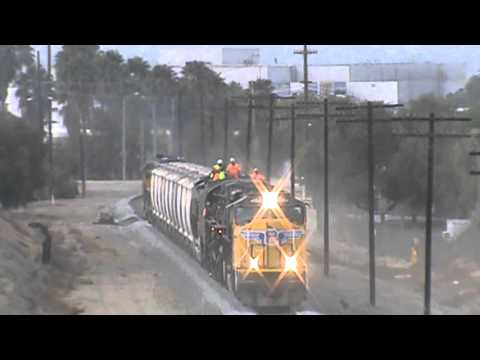 Union Pacific Giant  4-8-8-4 Big Boy 4014 at Grand Ave Bridge Diamond Bar. 1/26/14