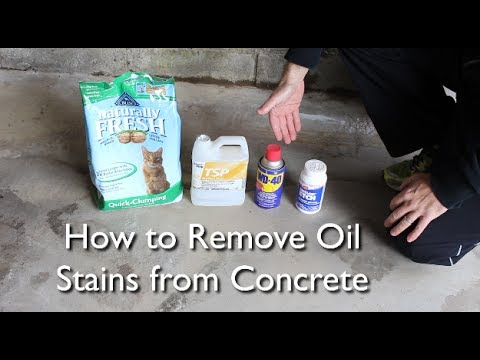 How to remove an oil stain from concrete by home repair for Remove oil from concrete floor
