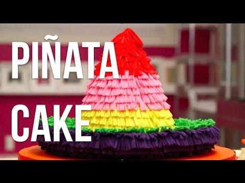How To Make A PIÑATA SOMBRERO out of CAKE! Vanilla cakes, rainbow buttercream and fondant!