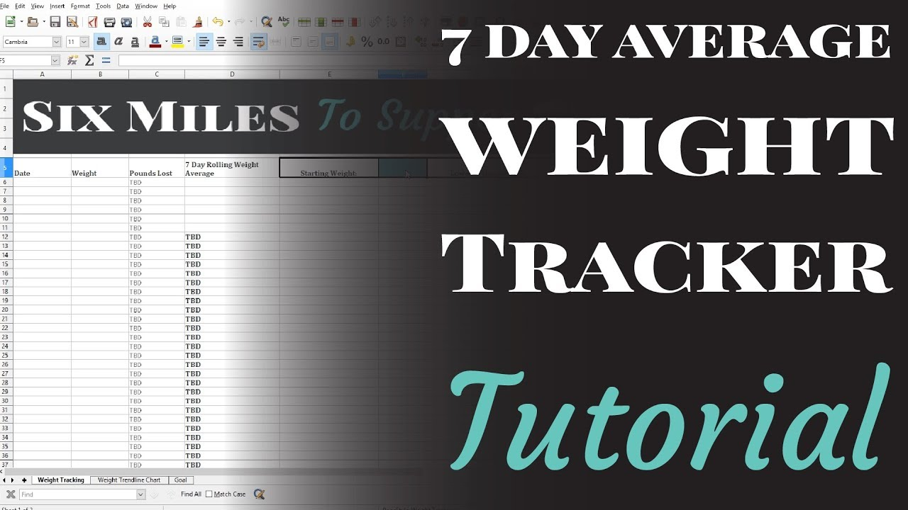 7 day average weight tracker spreadsheet tutorial youtube