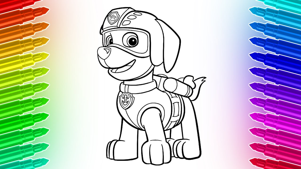 How To Draw And Color Paw Patrol Zuma 🎨 Cool Coloring Pages Youtube