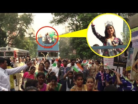 Miss World Manushi Chillar's GRAND Welcome Parade on Mumbai Roads