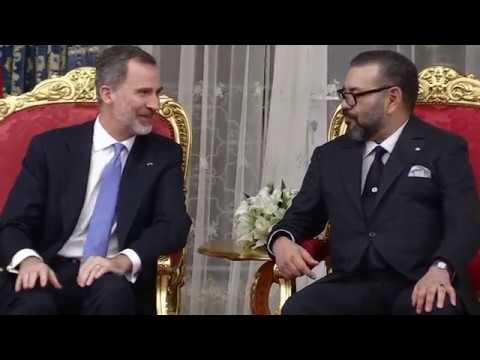 S.M. el Rey durante la firmas acuerdos  bilaterales entre marruecos y España