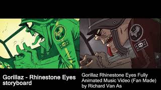 Gorillaz - Rhinestone Eyes Comparison (Storyboard and Fanmade by Richard Van As)