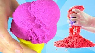 КИНЕТИЧЕСКИЙ ПЕСОК С ИГРУШКАМИ | Мороженое Из Песка | Kinetic Sand Colors For Children