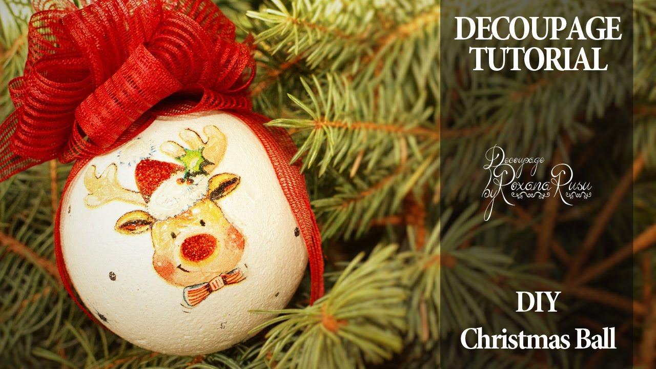 How to decoupage on polystyrene , Christmas ball decoupage tutorial