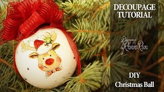 How to decoupage on polystyrene -  Christmas ball decoupage tutorial