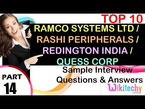 jobs | quess corp limited | ramco group | rashi peripherals pvt ltd | Redington India Careers