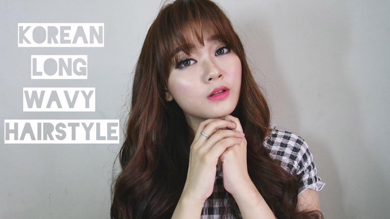 korean long wavy hair style