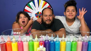3 COLORS OF GLUE SLIME CHALLENGE MYSTERY WHEEL OF SLIME EDITION WITH OUR DAD PART 2!