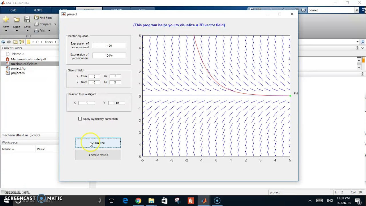 Slop and Vector field with particles motion simulation Matlab