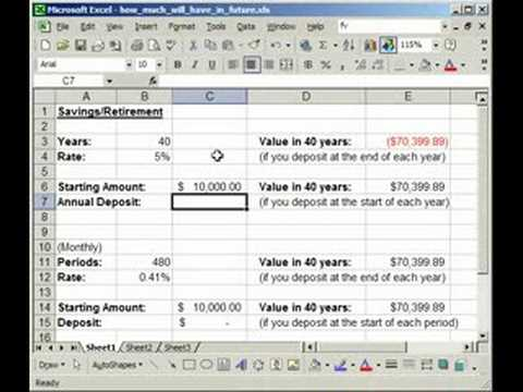 Calculate Value Of SavingsRetirement Plan In Excel  Fv  Youtube