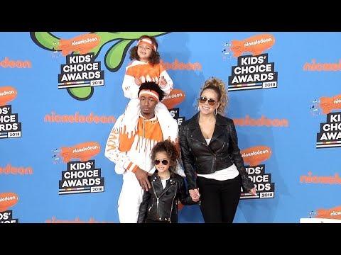 Mariah Carey, Nick Cannon, Moroccan, Monroe 2018 Kids' Choice Awards Orange Carpet