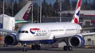 British Airways Boeing 787-9 Dreamliner G-ZBKH Fast Taxi after 1st Flight @ KPAE Paine Field