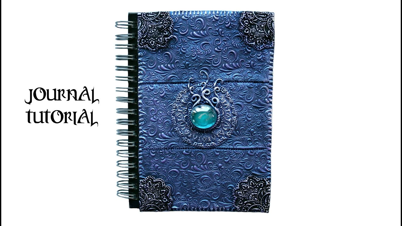 Diy Book Cover Design ~ Polymer clay notebook cover purple blue easy ornate