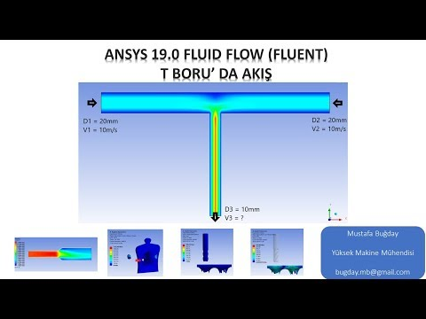 Ansys 19.0 Fluid Flow (Fluent) T Boru Akış