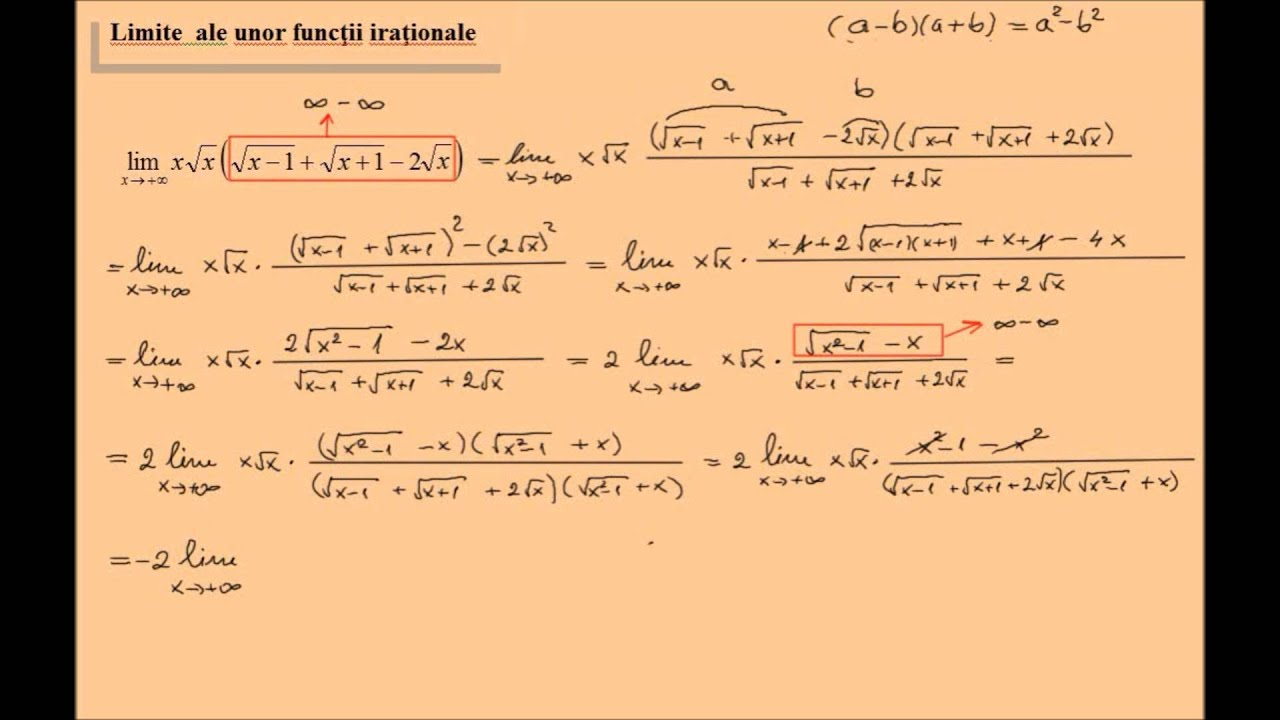 Limite ale unor functii, exercitii rezolvate (lic_limitele11)