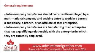 ADMIRE IMMIGRATION SERVICES INC. - Intra Company Transfer Program
