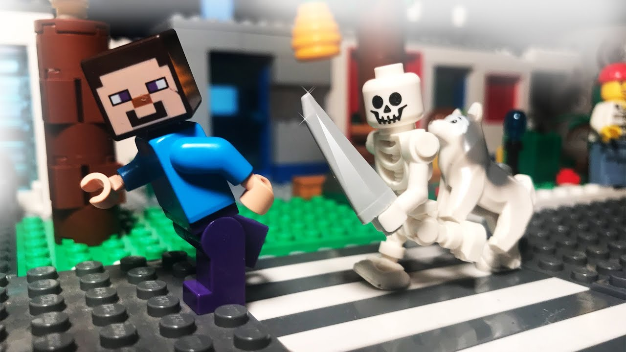 Lego Minecraft Steve in the City - Skeleton attack!