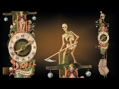 Vintage 8 day Medevil Reaper 18'' wall clock by Rombach & Haas