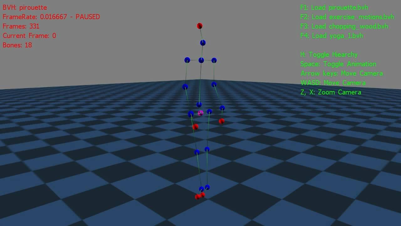 BVH Motion Capture Visualization in XNA