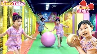 [라임송 뮤직비디오]점핑파크에 가다! 방방이와 거대공 장난감 놀이 로보카폴리 음료수 먹방 인기동요 Jumping pool playground |LimeTube & Toy 라임튜브