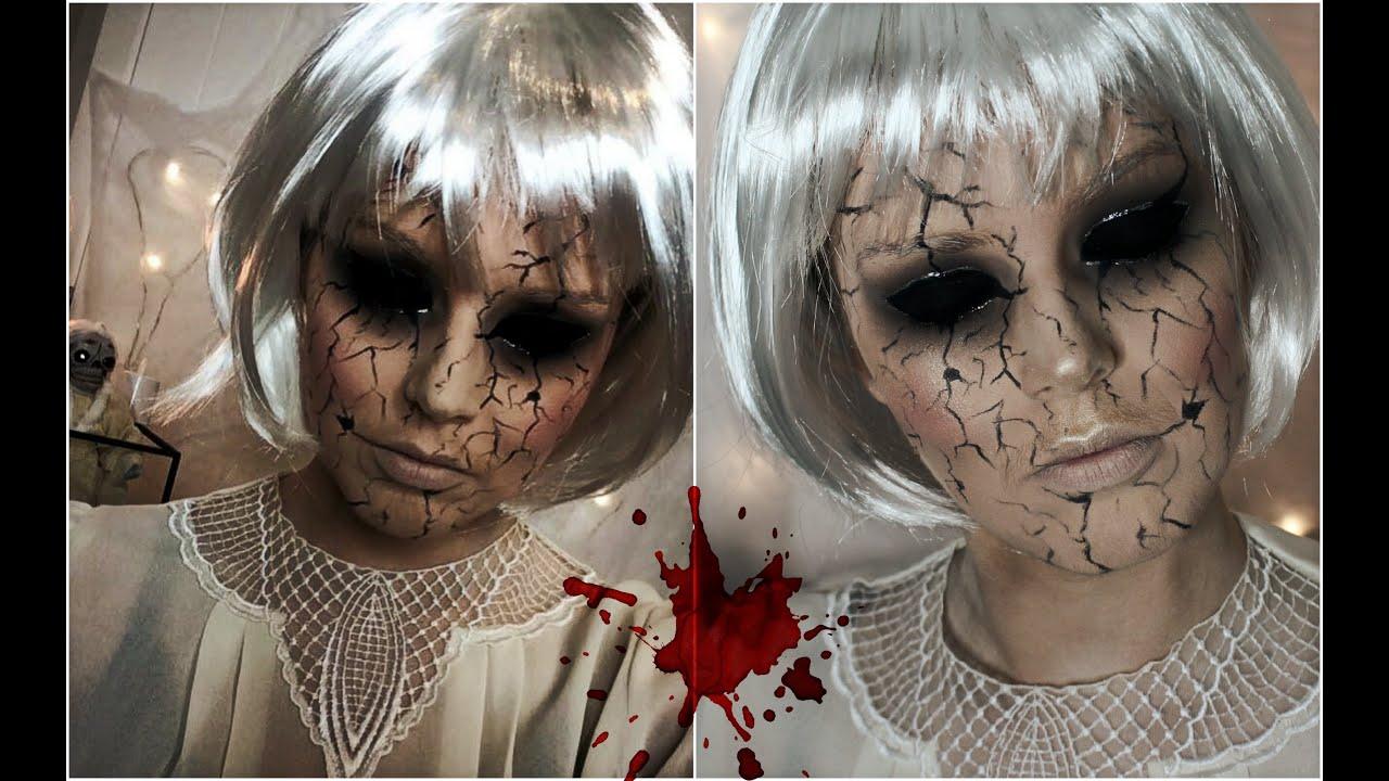 Halloween Makeup Tutorial    Creepy Cracked Face Doll - YouTube