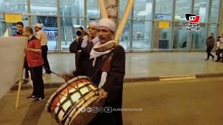 زفة بلدي في استقبال بعثة مصر الأوليمبية بمطار القاهرة عقب عودتها من الأرجنتين