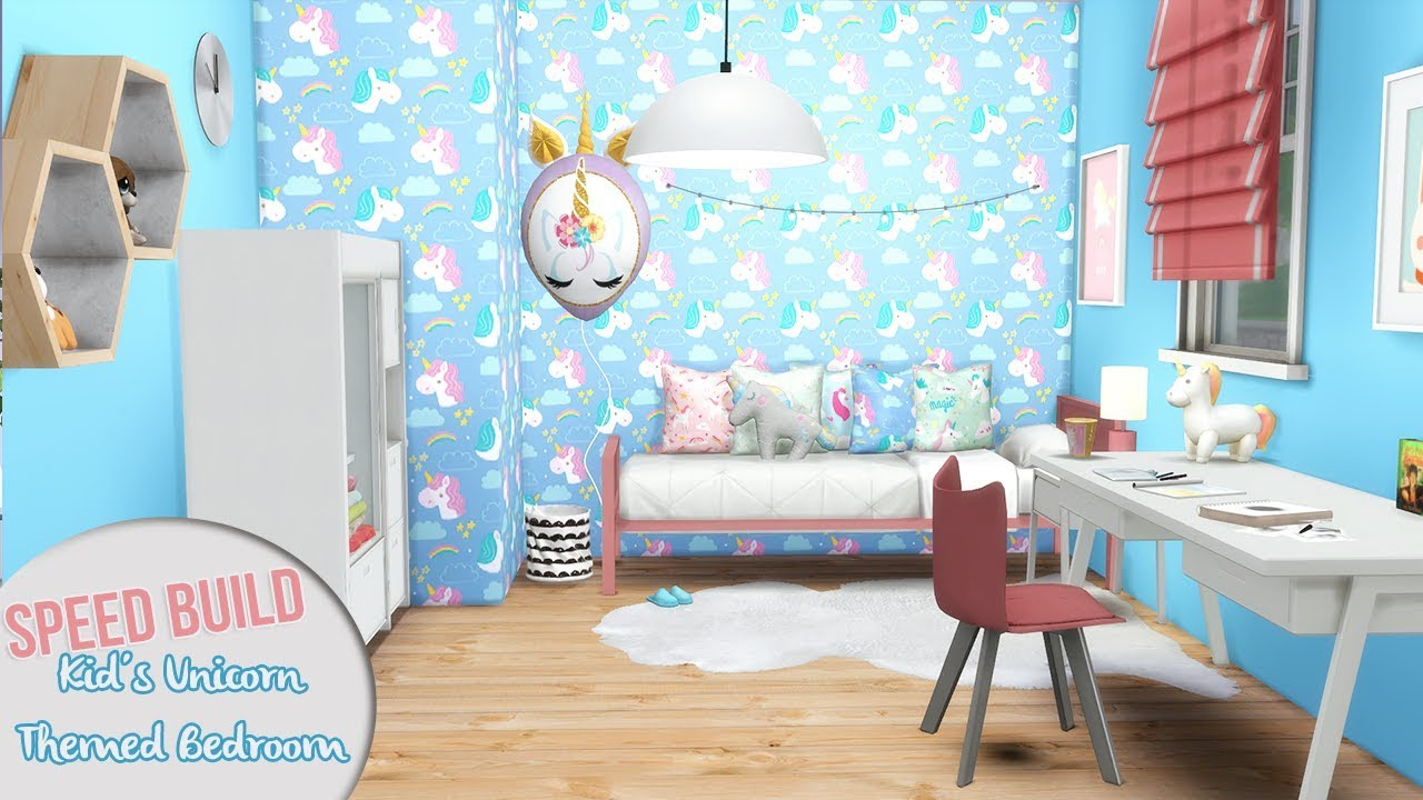 Kid 39 s unicorn themed bedroom cc links the sims 4 speed build youtube for Unicorn bedroom theme
