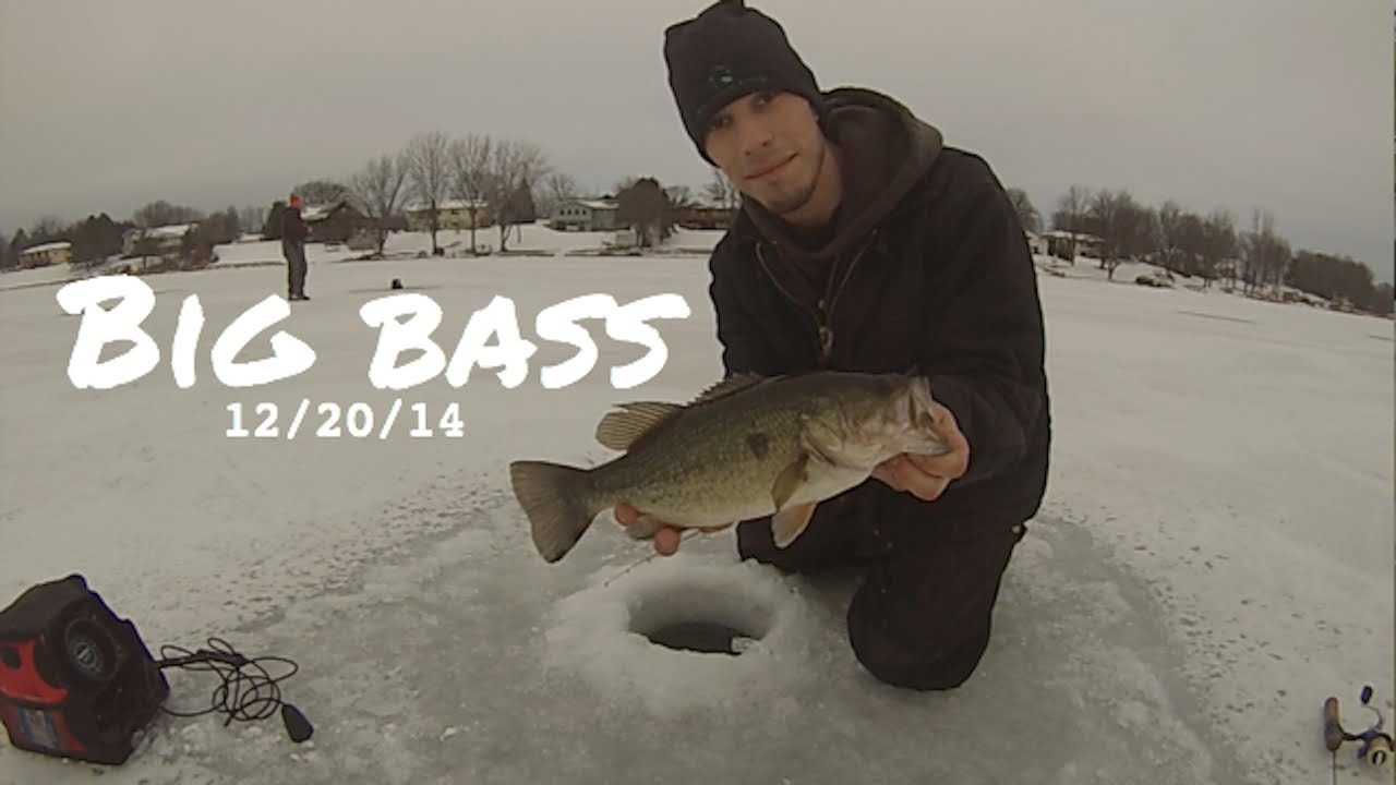 Minnesota ice fishing 2014 big bass youtube for Ice fishing for bass