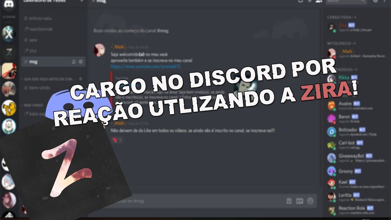 Tutorial Discord - Zira Bot (Cargos por Emoji)