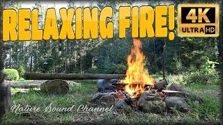 ★ 4 HOURS ★ ☯ NATURE FIRE ☯ 4K relaxing fire ambience