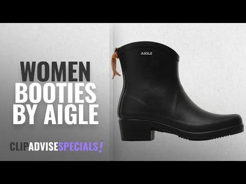 Top 10 Aigle Women Booties [2018]: Aigle Womens Miss Juliette Bottillon Black Rubber Boots - 6.5