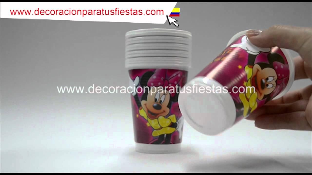 Vasos para cumplea os de minnie mouse youtube - Decorar vasos plasticos para cumpleanos ...