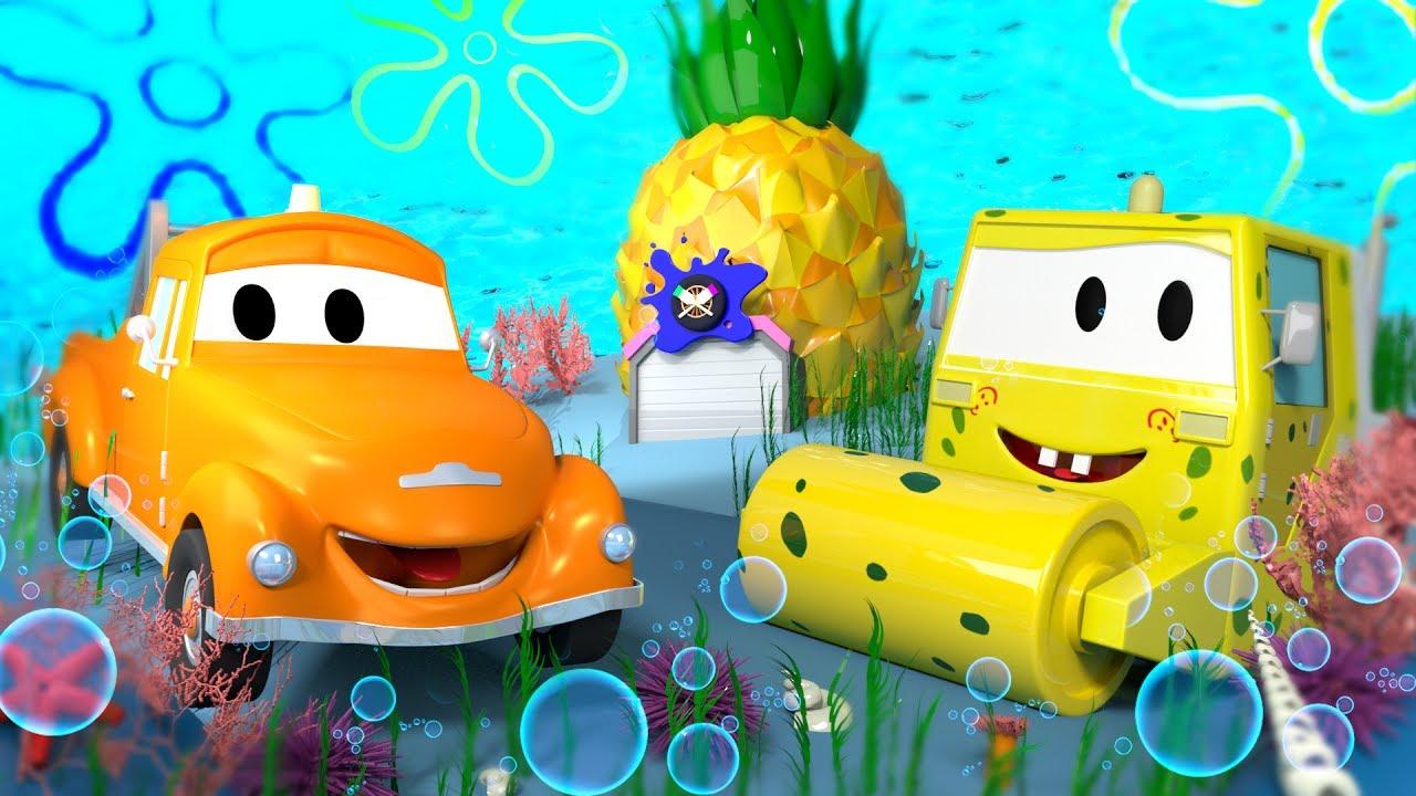steve-is-sponge-bob-tom-s-paint-shop-in-car-city-l-cartoons-for-kids