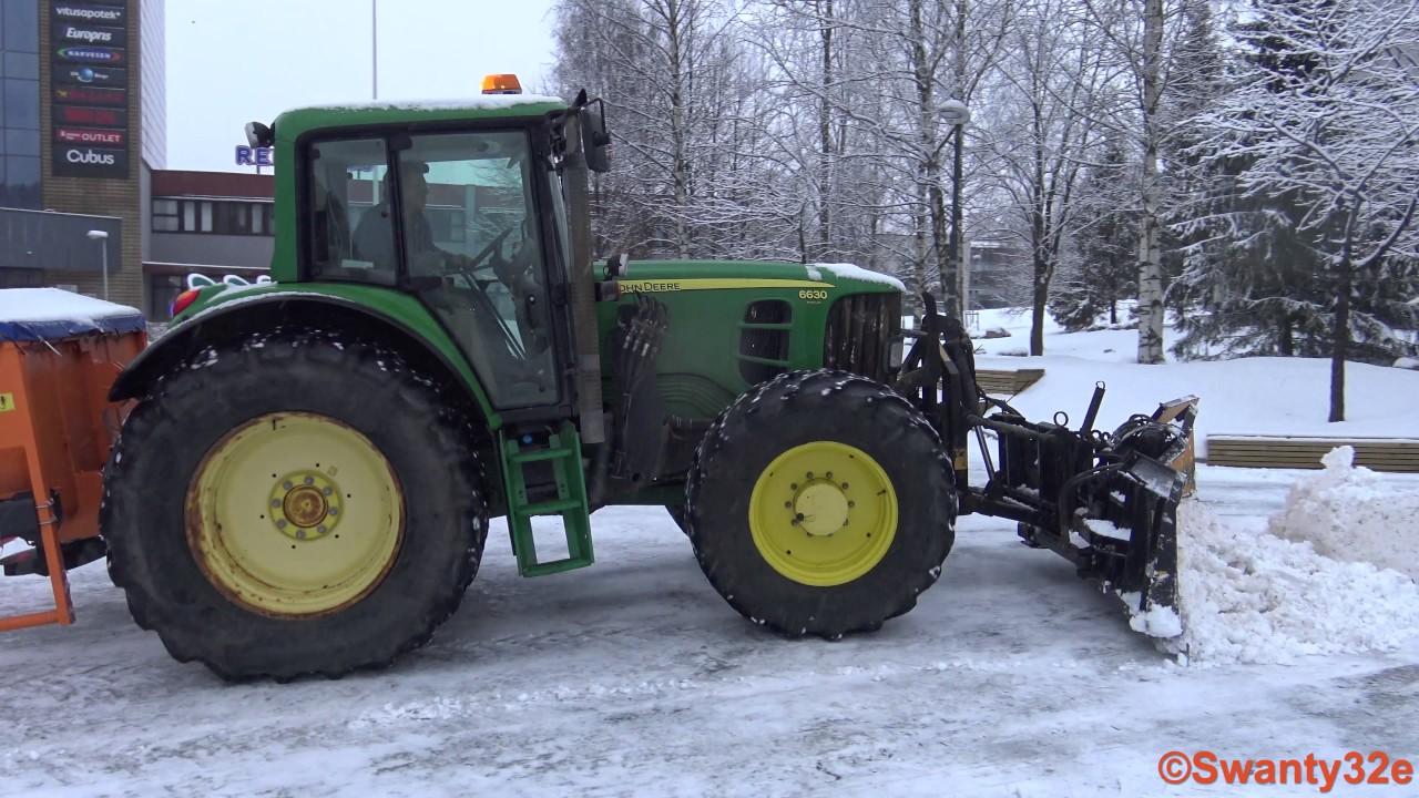 Volvo Snow Plow >> 4K| John Deere 6630 Plowing Snow | Doovi