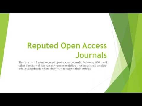 Reputed Open Access Journals