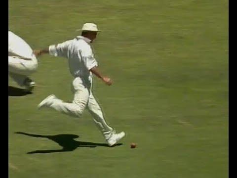 Hilarious horrid cricket fielding GOLD! Drops ball, kicks it for runs