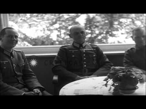 Nazi Field Marshal Karl Von Rundstedt and Major General Frank J. Milburn in Weilh...HD Stock Footage